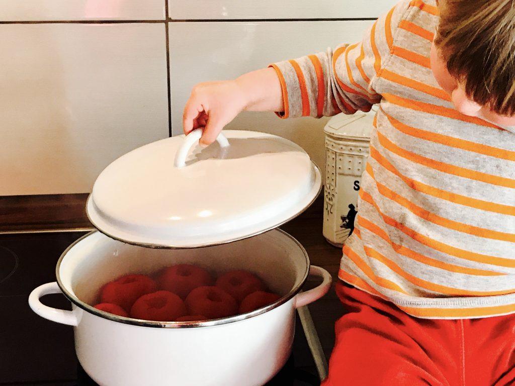 Merlin guckt nach Montis Pasta