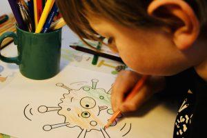 Kommunikation mit Kindern per Stift – Ausmalbild Coronavirus