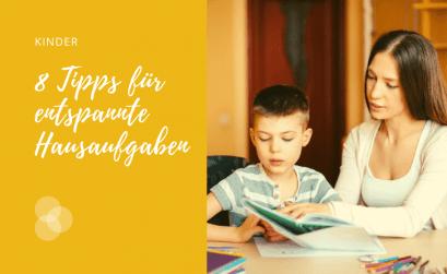 Druck aus den Hausaufgaben nehmen – Vorteile Nachteile, wenn Kinder allein Hausaufgaben machen Header des Artikels mit Mutter und Kind
