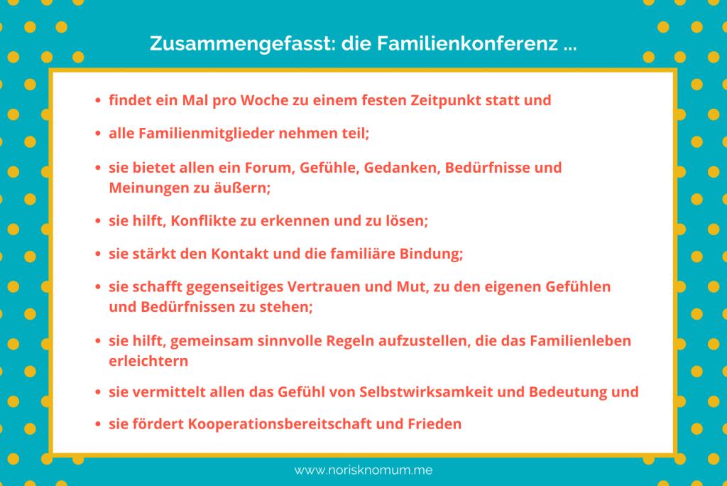 Familienkonferenz Anleitung – Grafik Zusammenfassung, was eine Familienkonferenz ist