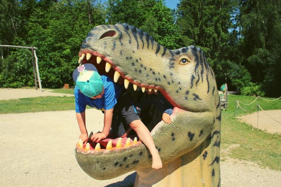 Dinopark Altmuehltal – Kind im T-Rex-Kopf