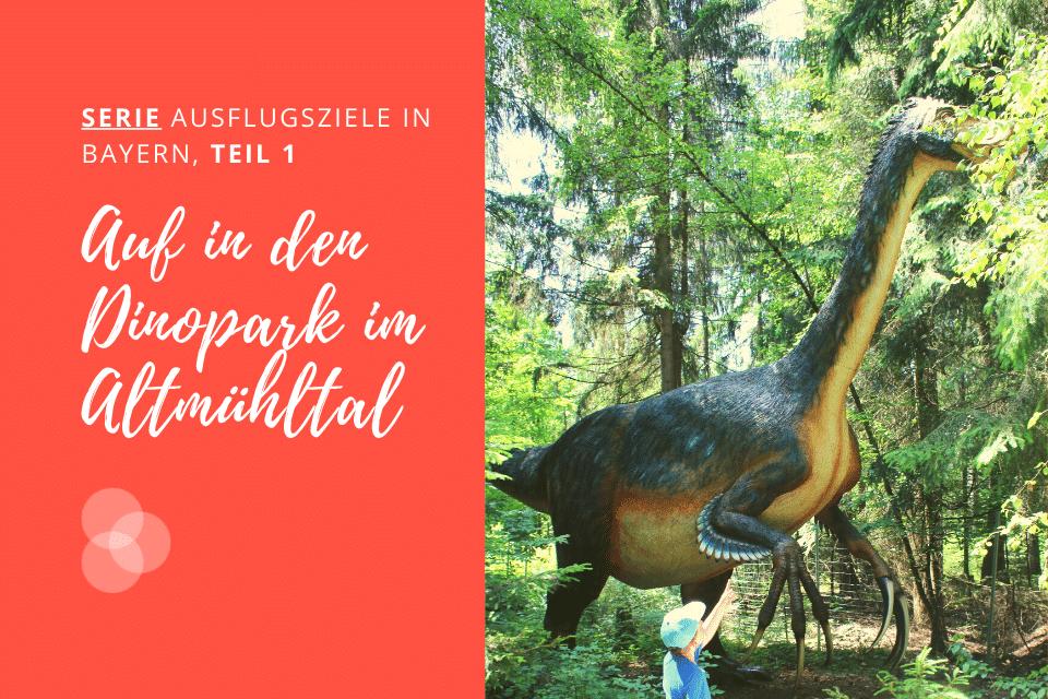 Dinopark Altmühltal – Kind vor gefiedertem Dino